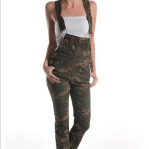 Camo jeans overalls